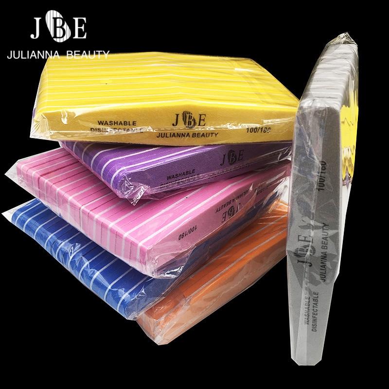 50Pcs 100/180 Double Side Blocks Colorful Sponge Nail Polish Sanding Buffer Strips Nail Polishing Manicure Tools Random