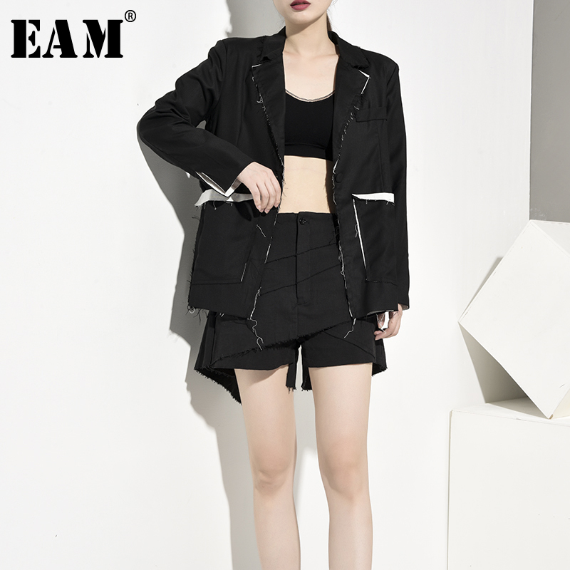 [EAM]  Women Black Burr Split Joint Blazer New Lapel Long Sleeve Loose Fit  Jacket Fashion Tide Spring Autumn 2019 JS5230