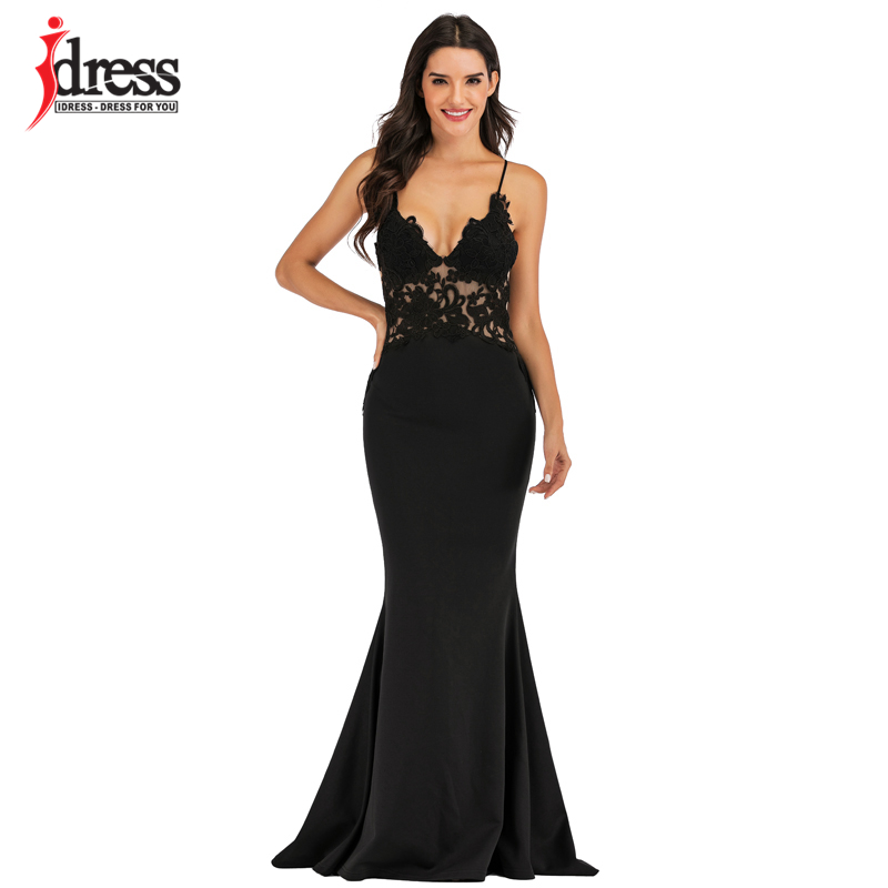IDress Pink Black White Lace Sexy Maxi Dress Women Elegant Party Club Dresses Spaghetti Strap Backless Bridesmaid Party Dresses (1)