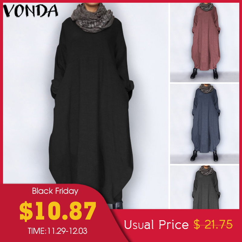 VONDA Plus Size Autumn Dress 2019 Vintage Sexy Long Sleeve Party Maxi Long Dress Casual Loose Vestidos Sundress Robe Femme S-5XL