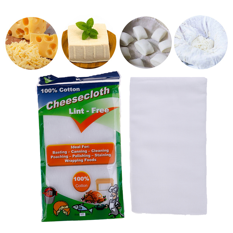 1Pc1.5 Yards Food grade Cheese Grater White Cotton Gauze Muslin Cheesecloth Fabric Butter Cheese Wrap Cloth Kitchen Filter cloth