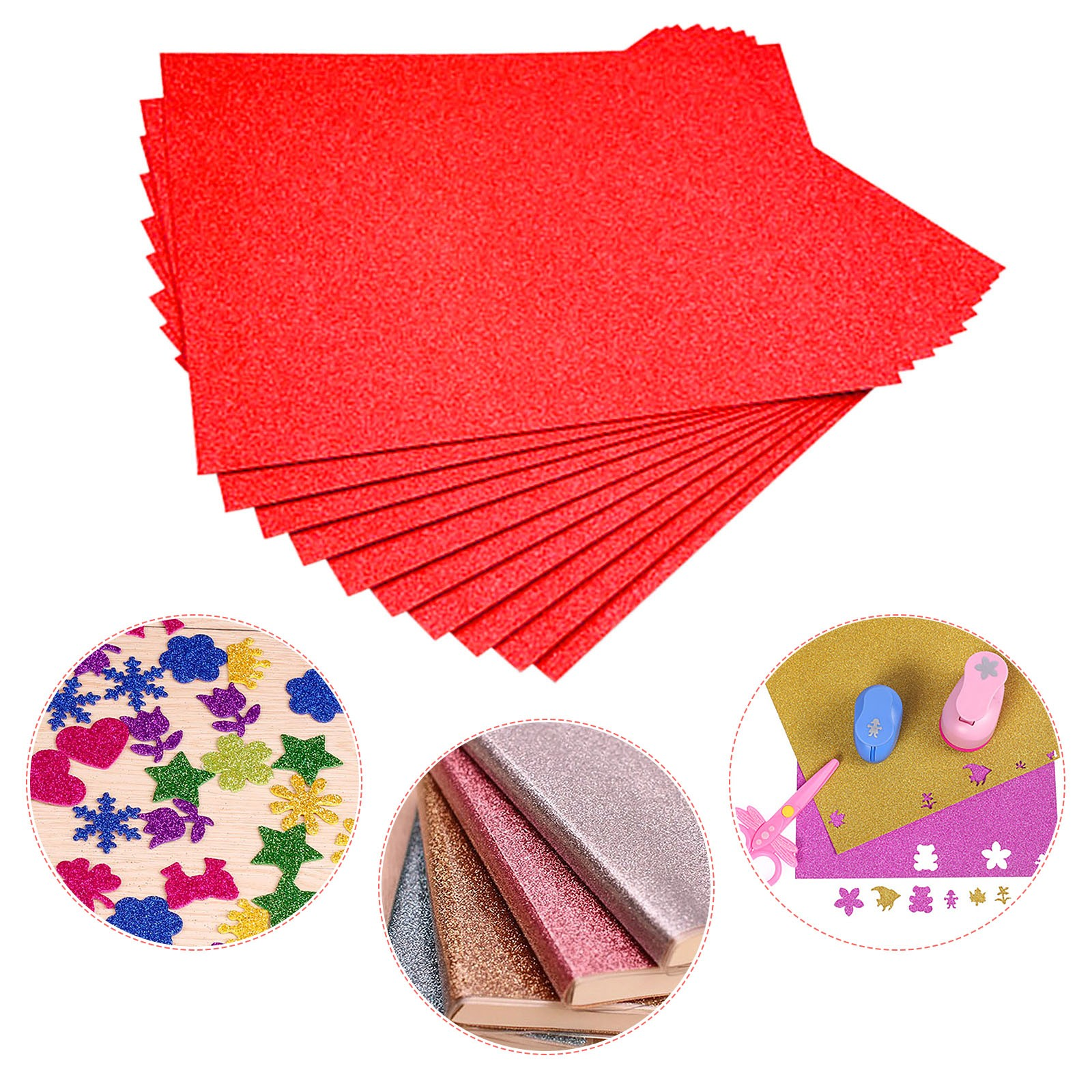Flash Card Paper Flash Shiny Craft Paper Advanced A4 Flash Paper A variety of rainbow colors Glitter Cardstock No Adhesive 2021