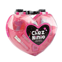 Safety For Kids Gift Eyeshadow Play Non-toxic Cosmetic Toy Heart-shaped Handbag Girls Lipstick Makeup Set Lip Gloss Princess