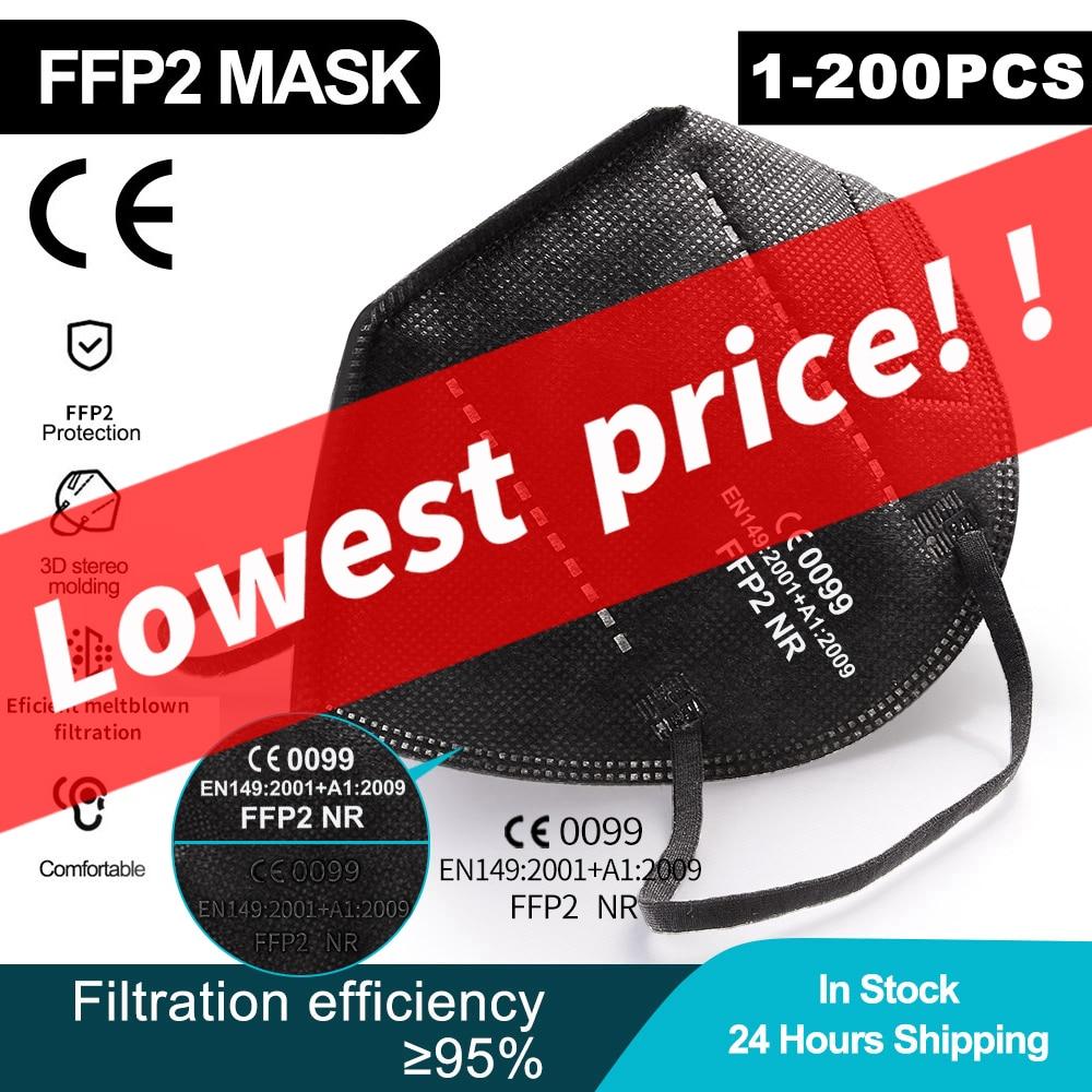1-200 Pieces CE FFP2 Mask 5 Layers KN95 Dust Masks Face Protective FPP2 Mascarillas Filter Respirator FPP3 Reusable ffp2mask