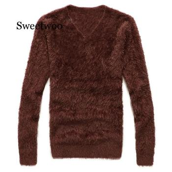 Men's Winter Sweater Warm Wool Knitted Pullover Sweater Jumper Men V Neck Mohair Cashmere Sweaters Sueter Hombre Pull Homme markless o neck sweater men 100% cotton winter warm stripe sweaters pullover men christmas pull homme sueter hombre msa3710m