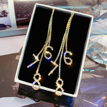 fashion long tassel simulated  drop earrings for women rhinestone exquisite gold silver chain pendant earring brincos