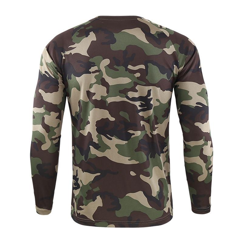Футболка мужская быстросохнущая Военная камуфляжная футболка с длинным рукавом Мужская дышащая футболка для фитнеса Топы тактическая Боевая камуфляжная армейская футболка - 4