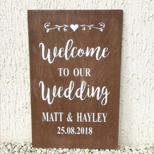 Welcome Party Sign Decals Mural Wedding Decoration Wall Stickers Room Decor Art Vinyl Poster Baptism Personalised  AY1950