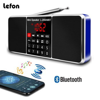 цена на Lefon Portable AM FM Radio Stereo Receiver Bluetooth Wireless Speaker Support TF SD Card USB Disk AUX MP3 LED Display Handsfree
