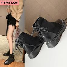 2019 fashion ankle boots winter Pu leather womens work shoes round head straps black female