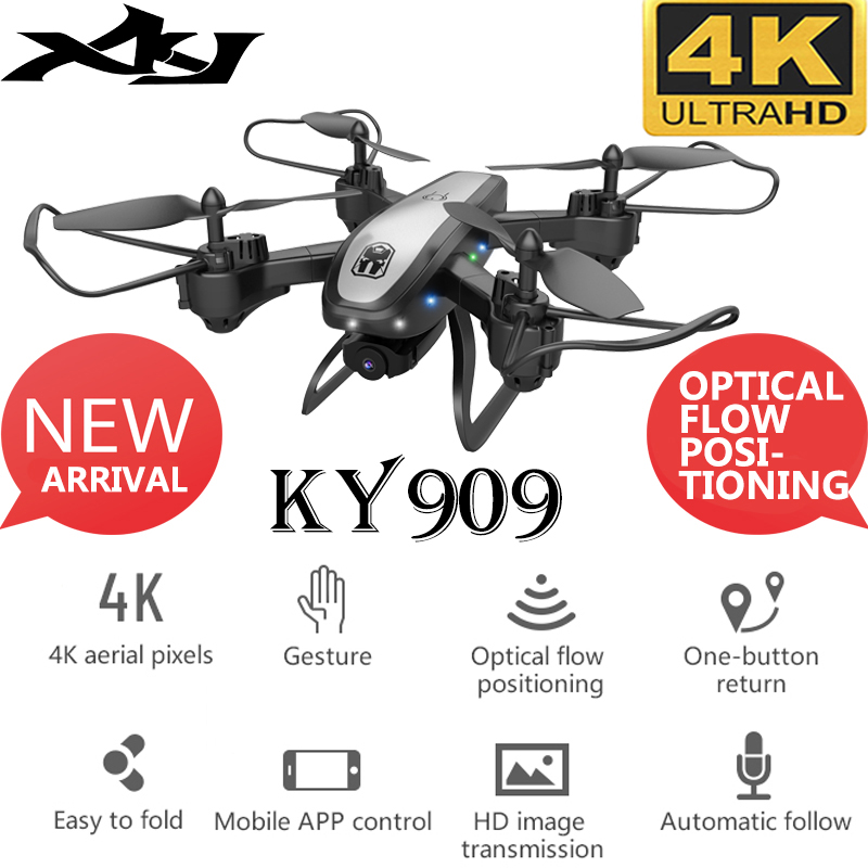XKJ New Drone KY909 RC Drone With 4K HD Camera Optical Flow Position Hover Aerial Quadcopter Wifi FPV Gesture Photo Dron