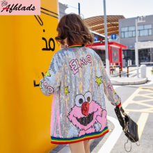 Sequined Cartoon Print Jacket New Female Spring And Autumn Korean Loose Fashion Outerwear Coats Long Sleeved Hip Hop Jackets