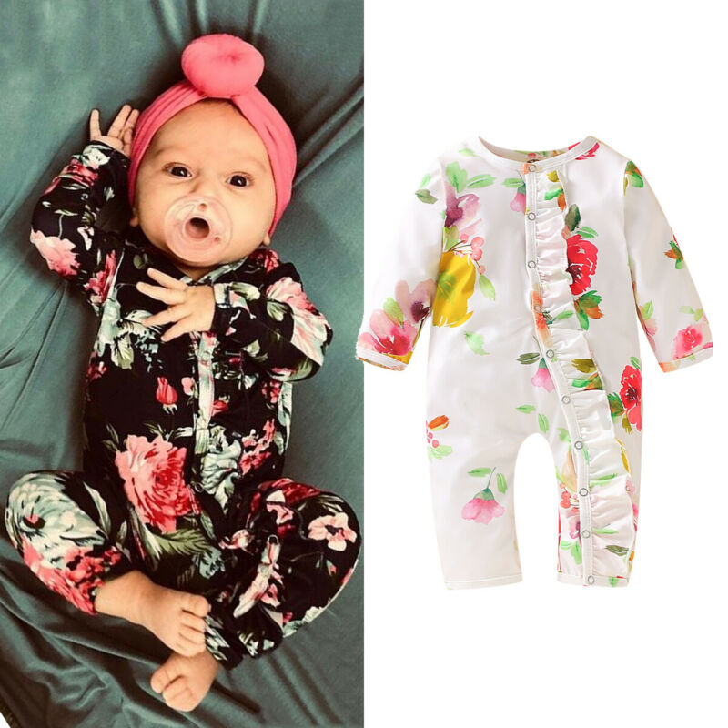 Toddler Infant Kid Baby Girls Floral Long Sleeve Jumpsuit Romper Clothes Outfits