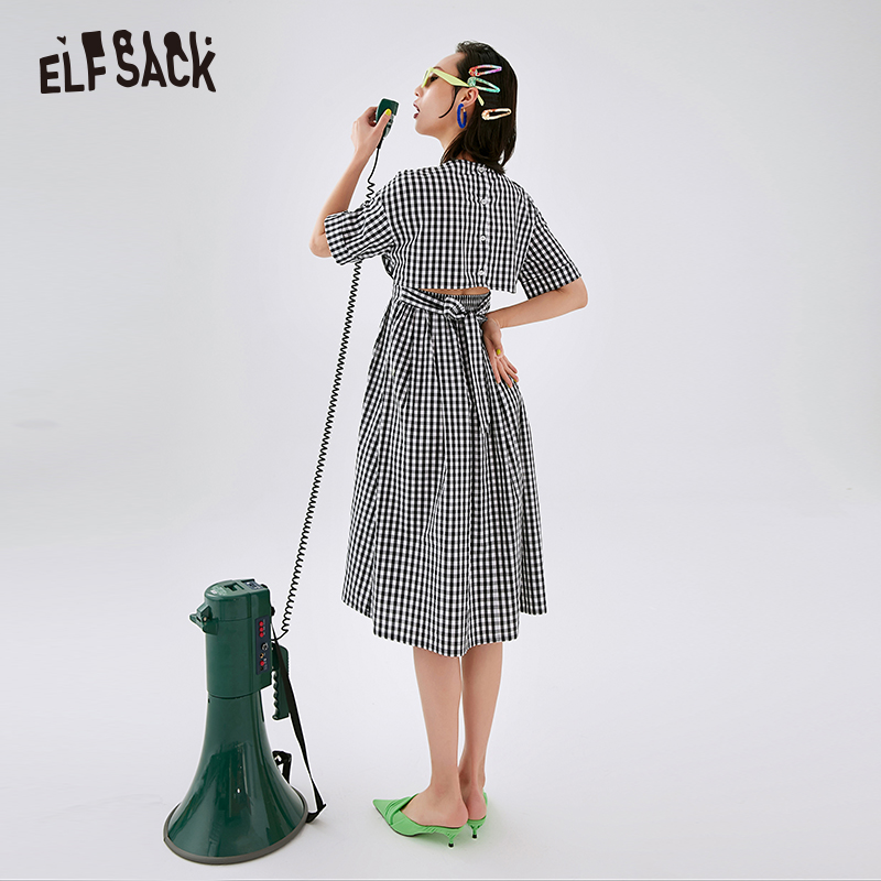 ELFSACK Black Plaid Letter Embroidery Casual Preppy Shirt Dress Women 2020 Spring Cut Out Back Short Sleeve Ladies Daily Dresses