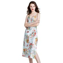 цена на Women Imitation Silk Cami Dress Colorful Floral Print Spaghetti Strap Nightgown Sexy V-Neck Backless Side Slit Midi Sleepwear