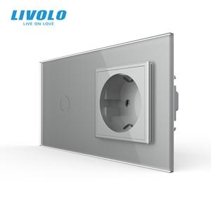 Image 4 - Livolo האיחוד האירופי תקן Touch, זכוכית קריסטל לוח, AC 220 ~ 250V 16A קיר שקע תקע עם אור מתג