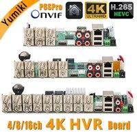 5in1 H.265 4/8/16ch 8M N/4K HVR Security CCTV hybrid video recorder board DVR P2P P6Spro support AHD/TVI/CVI/CVBS/IP cameras
