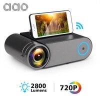 AAO YG420 Мини светодиодный 720 P проектор, нативный 1280x720 портативный беспроводной WiFi мультиэкранный видео проектор YG421 3D VGA HDMI Proyector