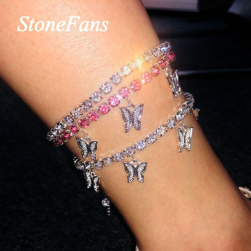 Stionefans Fashion Rhinestone Butterfly Pendant Anklet Chain for Women Statment Bling Tennis Chain Anklet Butterfly Foot Chain