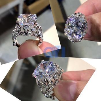 πολυτέλεια 10 ct Μαξιλάρι δαχτυλίδι με προσομοίωση διαμάντι γάμος αρραβώνων 925 ασημένιο δαχτυλίδι γυναικείο πολύ γυαλιστερό