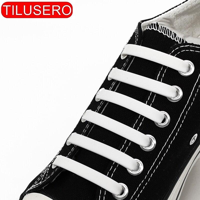 12pcs/lot Shoelaces Novelty No Tie Shoelaces Unisex Elastic Silicone Shoe Laces