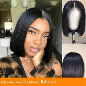 Wig Human-Hair Bleached Knots Virgin Pre-Plucked Short Silky Lace-Front Malaysia Straight
