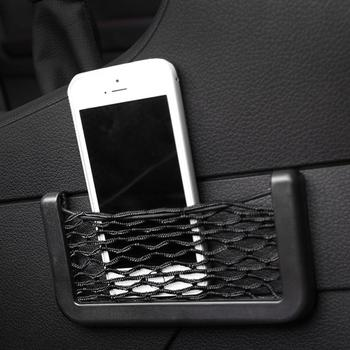 Car Mesh Storage Bag Multifunctional Easy Mount Mesh Net Car Storage Bag Holder for Phone Cash Card car accessories interior image