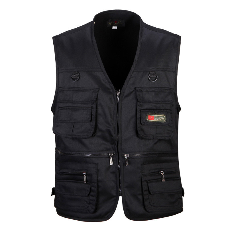 Male Vest Men Fashion Cotton Sleeveless Jackets Black Casual Fishing Vests With Many Pockets Unloading Waistcoat