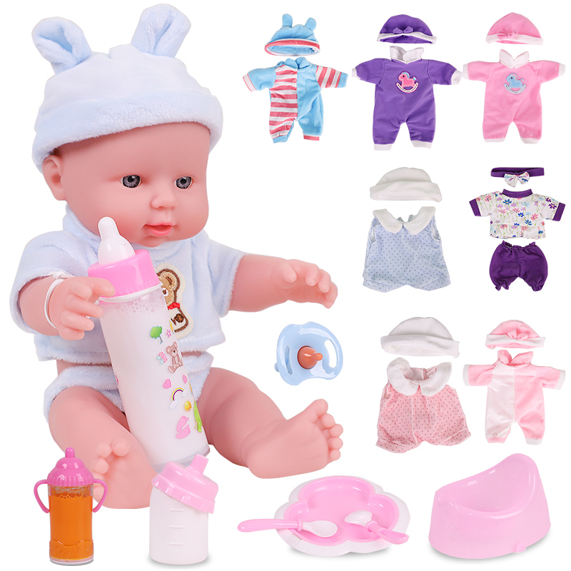 12 Inch Reborn Baby Dolls For Little Girl Doll Full Silicone Flexible Soft-Body Set Toys Gifts Rubber Babies Reborn