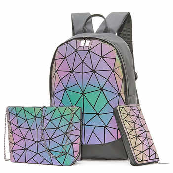 Big Set Backpack Women Geometric Luminous Shoulder Bag For Teenage Girls School Backpack Female All-Purpose Travel Bag Sac A Dos - Category 🛒 Luggage & Bags