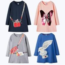 New Kids Dresses For Girls Clothing 100% Cotton Long Sleeve Sequin Baby Girls Dress Tunic Jersey Princess Dress Clothes 2-7 Year цена в Москве и Питере