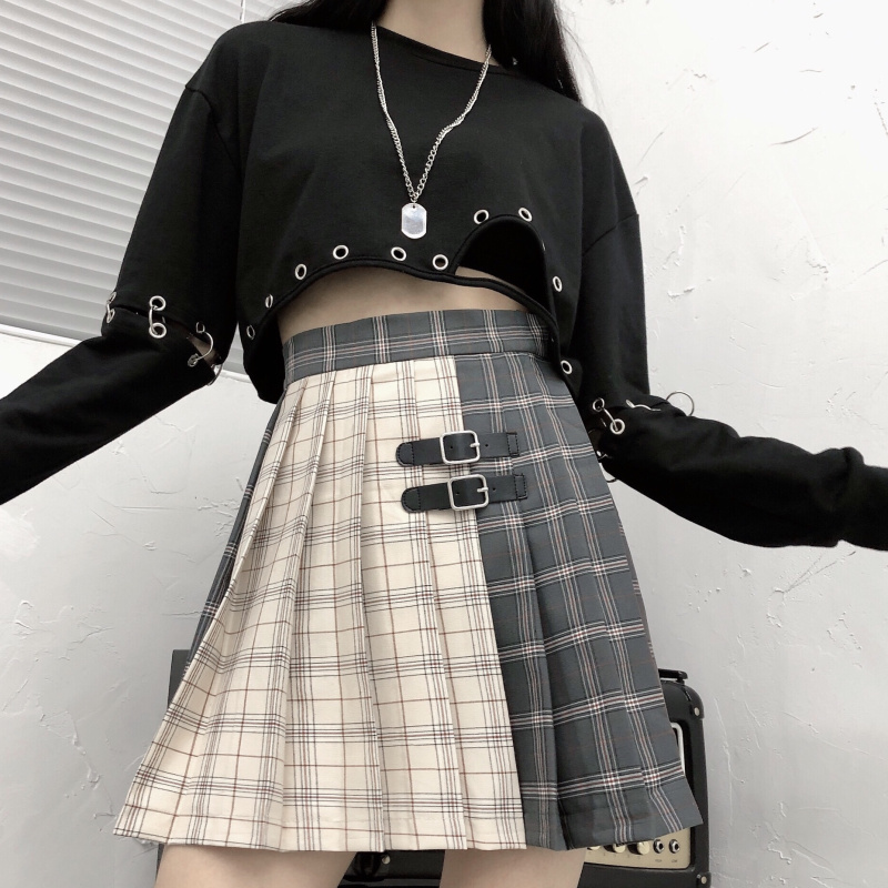 M- 4XL New Harajuku Kawaii Plaid Pleated Skirts Womens New Leather Buckle School Skirt High Waist Women Skirt A Line Skirt