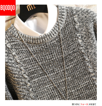 BQODQO Autumn Winter Slim Fit Sweater Male Streetwear Knitted Brand Pullover Clothing Men Casual Japanese