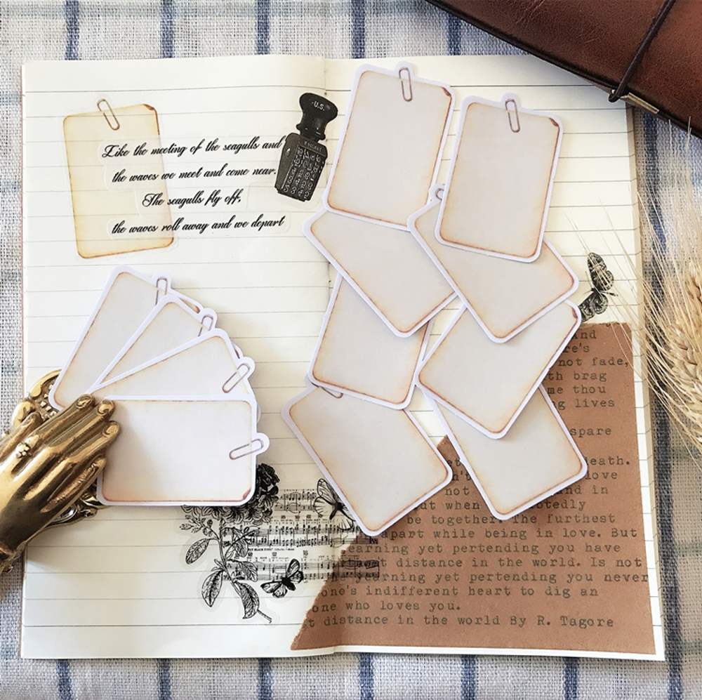 10Pcs/Set Vintage Label Tag Vellum Paper Sticker DIY Craft Scrapbooking Album Junk Journal Planner Decorative Stickers