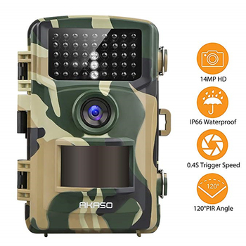 AKASO Trail Game Camera 14MP 1080P Wildlife Hunting Scouting Cam IP66 Waterproof Camera with 120° Detecting Range Hunting Camera