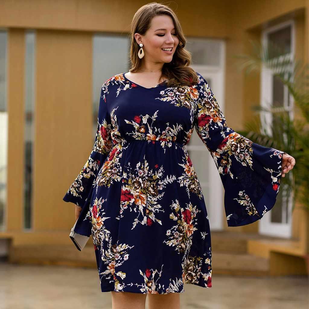 المرأة حجم كبير فستان جديد مثير طباعة تكدرت طويلة البوق كم الخامس الرقبة فساتين الخريف الشتاء موضة عادية حفلة Vestido # A