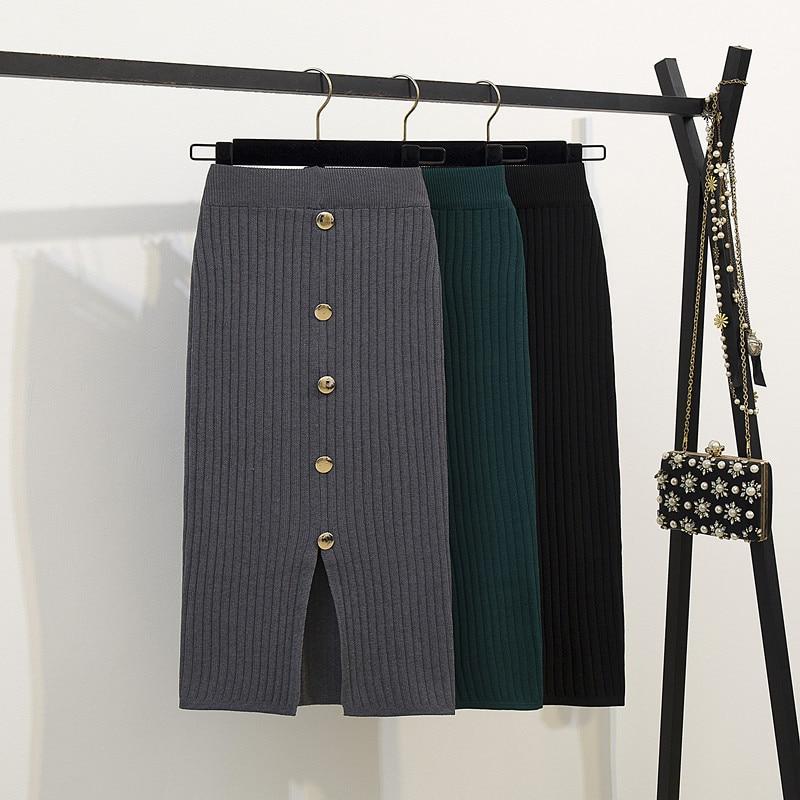 Women Split Sweater Skirt Knitted Skirt High Waist Knee Length Skirt Warm Knitting Button Skirts Bottoms Casual Black Gray Green
