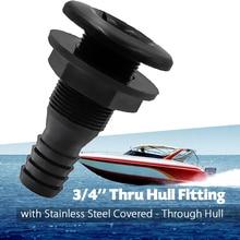 3/4 Inch Hose Plastic Thru-Hull Bilge Fitting Bilge Pump Drain Vent Hose Fitting for Boats Marine Yacht RV Camper Truck