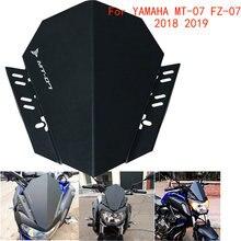 Motocicleta cnc frente windscreen defletor de vento windshield kit capa superior para yamaha MT-07 mt 07 mt07 FZ-07 fz07 2018 2019 2020
