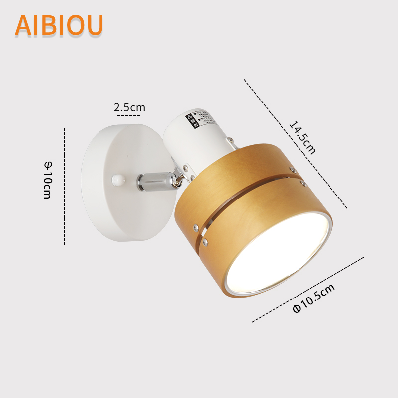AIBIOU Led Wall Lights For Bedroom Room Nordic E27 Wall Sconce With Metal Lampshade Wooden Wall Mounted Reading Light in LED Indoor Wall Lamps from Lights Lighting