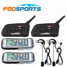 цена на 2 pcs V6 Pro BT Interphone Bluetooth Headset Intercom Full Duplex Two-Way Wireless Communication for Football Referee Judge Bike