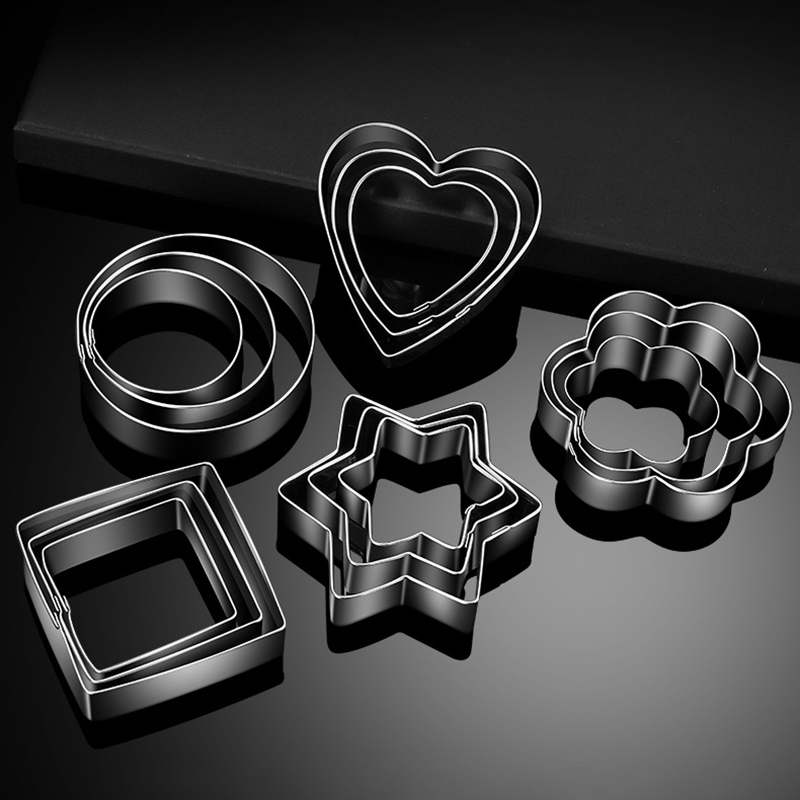 3Pcs/Set Cake Decorating Tools Flower/Heart/Circle/Star/Square 430 Stainless Steel Biscuit Cookie Cutter Baking Accessories