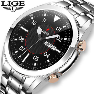 LIGE 2020 Steel Band Smart Watch Men Full Touch Screen Sports Fitness Watch Waterproof Bluetooth For Android ios smartwatch Mens