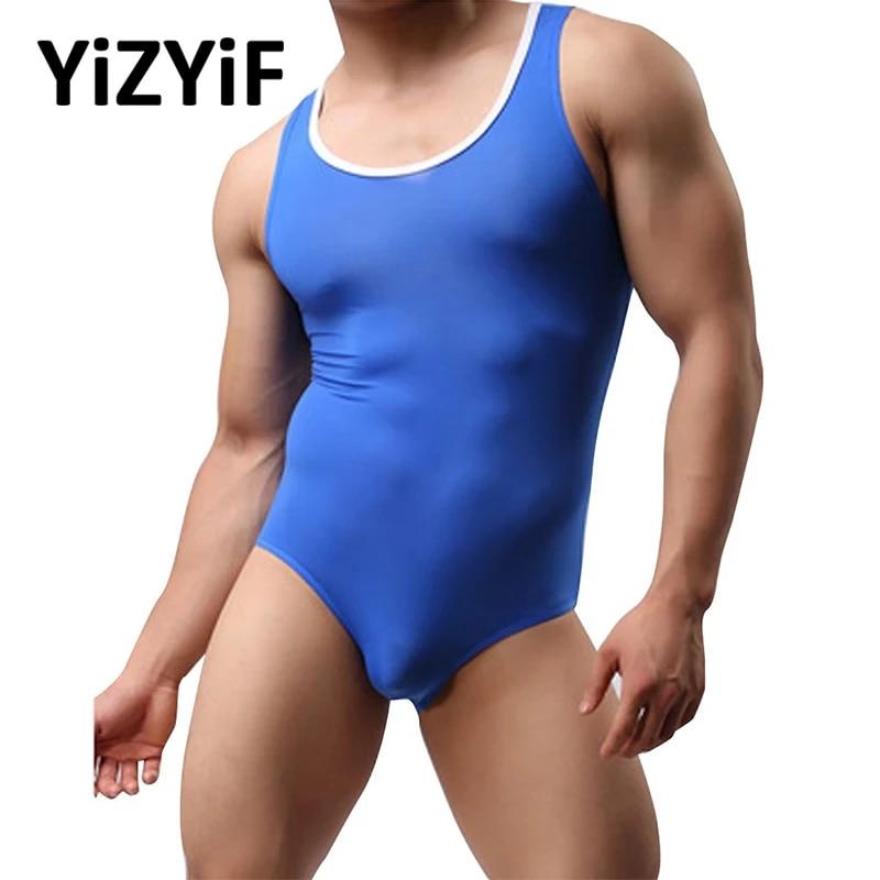 Mens Stretch Bodysuit Mankini Thong Underwear Lingerie 2018 Wrestling Sing L3Q0