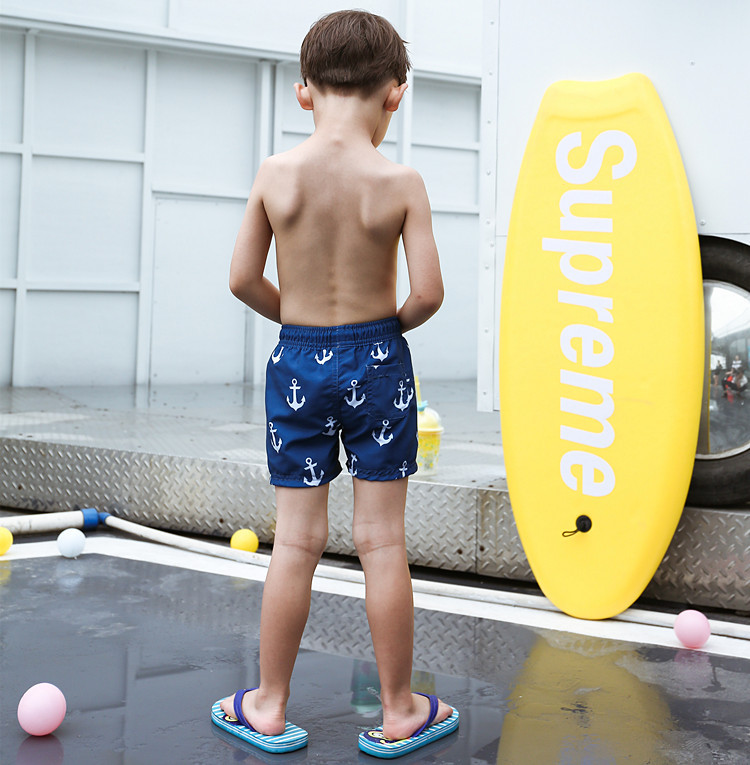 2020 New Style KID'S Swimwear Big Boy Dark Blue Lifting Hook Lace-up Cute Boy Beach Shorts Swimming Trunks