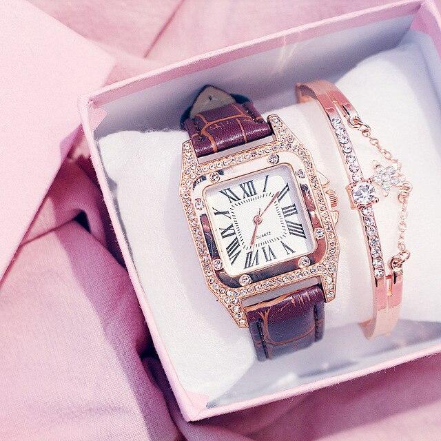Diamond Luxury Bracelet set Ladies Casual Leather Band Quartz Wristwatch 5