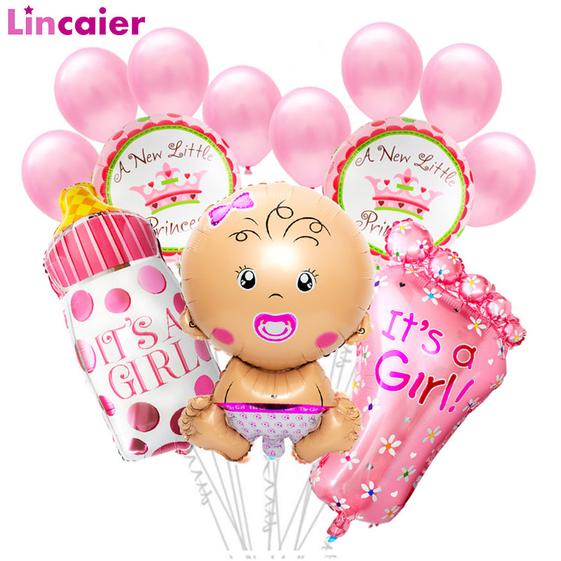 15pcs Baby Shower Foil Balloon Photo Booth Props Babyshower Girl Boy Party Decorations Gender Reveal Favors Supplies PhotoBooth
