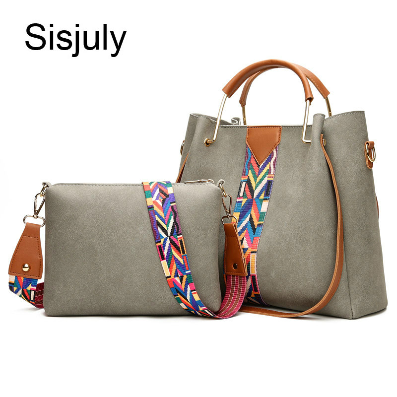 Bagaj ve Çantalar'ten Üstten Saplı Çanta'de Sisjuly 2 Pcs seti deri çanta kadın çanta tasarımcısı büyük kapasiteli omuz kadın çantası rahat kompozit bayan el Tote Sac title=