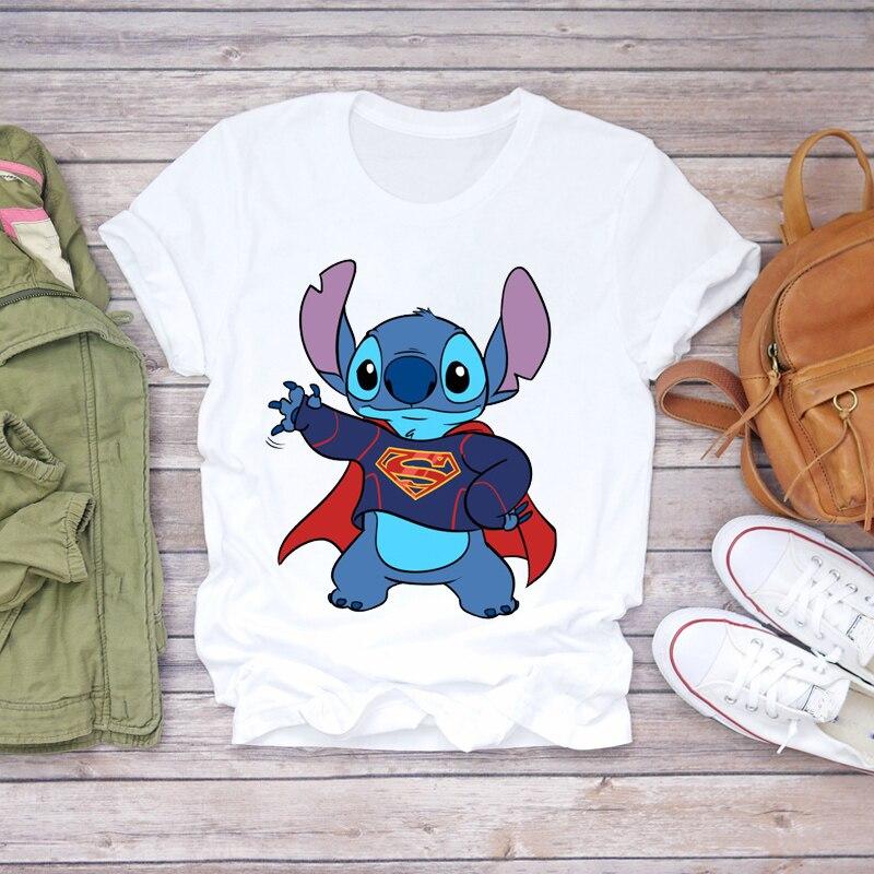 Women 2020 Cartoon Super Man Stitch Fashion Clothing Lady T-shirts Ladies Womens Top T Shirt Graphic Female Tee T-Shirt