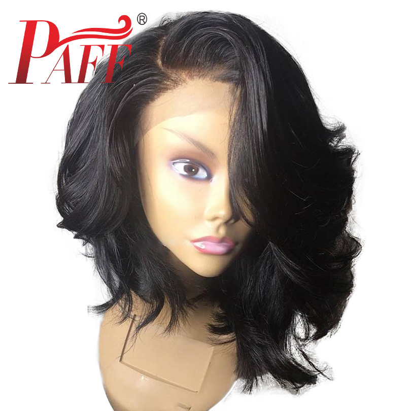 PAFF Side Deep Part 13*6 Lace Front Human Hair Short Bob Wigs Transparent Wavy Blunt Cut Indian Remy Preplucked Closure Wig